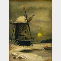 American School, 19th/20th Century      Winter Landscape with Windmill.