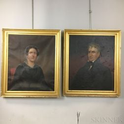 Isaac Augustus Wetherby (American, 1819-1904)    Pair of Portraits: Mary Peters Hewins and James Hewins