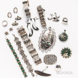 Group of Mexican and Designer Silver Jewelry