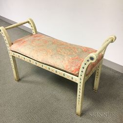 Polychrome Painted and Fortuny-upholstered Window Bench