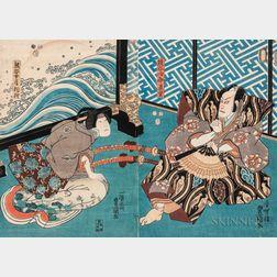 Utagawa Kunisada (Toyokuni III, 1786-1865), Diptych Woodblock Print