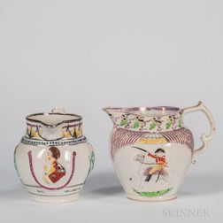 Two Staffordshire Pink Lustre Decorated Wellington Commemorative Jugs