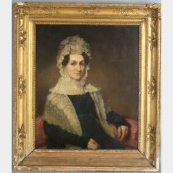 Attributed to John Wesley Jarvis (Philadelphia, Baltimore, New York City, 1780-1840)  Portrait of Maria McKesson.