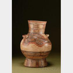 Pre-Columbian Polychrome Pottery Urn