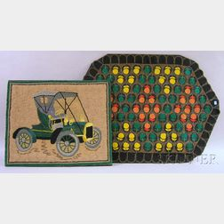 Applique Wool Felt Floral Pattern Penny Rug and a Hooked Touring Car Pattern   Mat