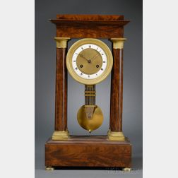 Mahogany Portico Table Clock by Ferey