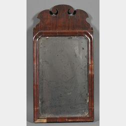 Small Queen Anne Mahogany Veneer Mirror