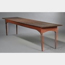 Shaker Pine and Maple Red-washed Work Table