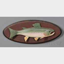 Carved and Painted Rainbow Trout Fish Plaque
