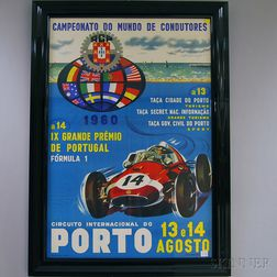 Framed 1960 Portuguese Grande Premo   Racing Poster and Four Racing Film   Posters