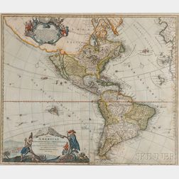 North and South America. Johannes Baptistat Homann (1664-1724)   Totius Americae Septentrionalis et Meridionalis