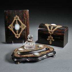 Three Wedgwood and Brass Mounted Calamander Veneer Desk Items