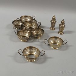 Nine Gorham Sterling Silver Soup Frames and a Pair of Salt and Pepper Shakers
