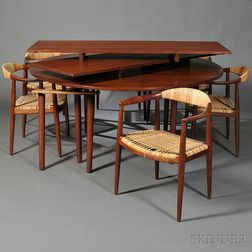 Hans Wegner (1914-2007) Dining Table and Six Round Dining Chairs