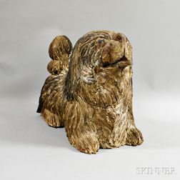 Large Carved and Painted Spaniel
