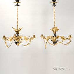Pair of Louis XV-style Gilt-bronze Chandeliers