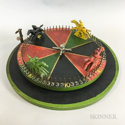 Painted Wood and Iron Horse Race Game