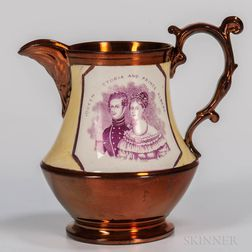 Copper Lustre Queen Victoria & Prince Albert Jug