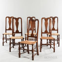 Six Queen Anne Mahogany Side Chairs