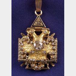 Masonic 10kt Gold, Diamond, and Enamel Pendant
