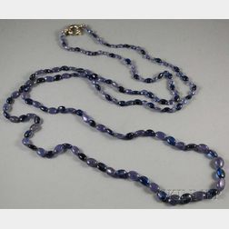 Long Tanzanite and Kyanite Graduated Beaded Necklace