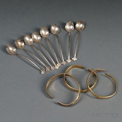 Eight Silver Demitasse Spoons and Three Gilt-metal Bangles