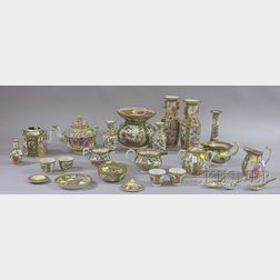 Approximately Twenty-two Pieces of Chinese Export Porcelain Rose Medallion and   Mandarin Tableware