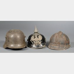 Three Military Helmets