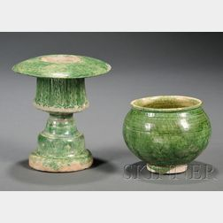 Green Glazed Lamp and Stand