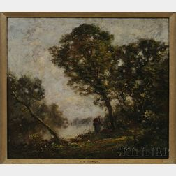 Manner of Jean-Baptiste-Camille Corot (French, 1796-1875)      Figures by a Pond