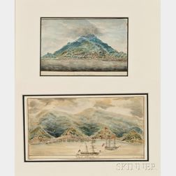 Attributed to Henry Schreiner Stellwagen (American, d. 1866)      Two Views of Caribbean Islands.