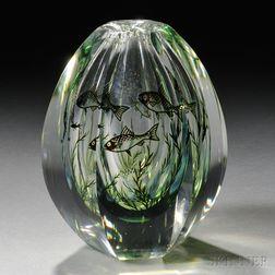 Orrefors Fish Graal Vase