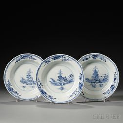 Three Export Blue and White Soup Plates
