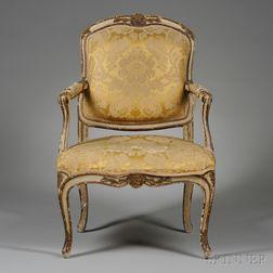 Louis XV Upholstered Beechwood Fauteuil