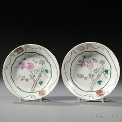 Two Chinese Export Porcelain Armorial Saucers
