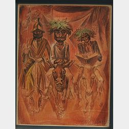 Norman Millet Thomas (American, 1915-1986)      Three Figures Riding Donkeys.