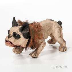 "Papier-mache ""Growler"" Barking Bulldog Toy"