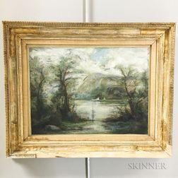 Framed Hudson River Pastel Scene