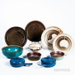 Ten Pieces of William Wyman (American, 1922-1980) Studio Pottery