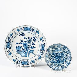 Tin-glazed Earthenware Charger and Plate
