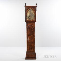 Rare Walnut Burl Veneer and Inlaid Tall Case Clock
