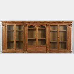 Georgian Style Carved Mahogany Low Bookcase