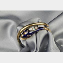 Antique 14kt Gold, Enamel, and Gem-set Snake Bracelet