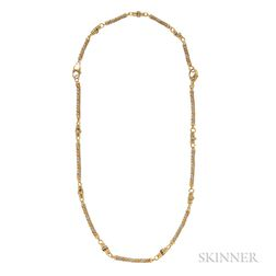 18kt Gold and Platinum Rope Necklace and Bracelet