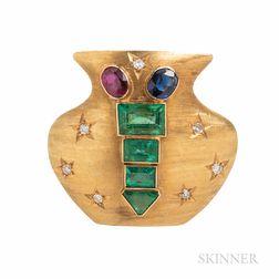 14kt Gold Gem-set Emerald Urn Brooch