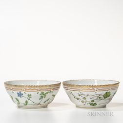 Two Royal Copenhagen Flora Danica Serving Bowls