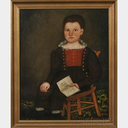 Royal Brewster Smith (Maine, 1801-1855)      Portrait of Abner Chase Stockin, Age Three, of Monmouth, Maine