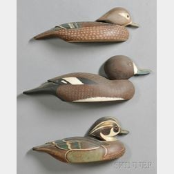Three Carved and Painted Wood Duck Decoy Wall Plaques