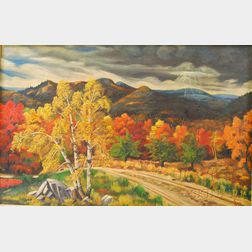 Alfred Demars (American, 20th Century)      Autumn Landscape with Mountains and Stormy Sky