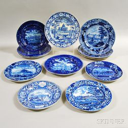 Twelve Staffordshire Blue and White Transfer-decorated Plates